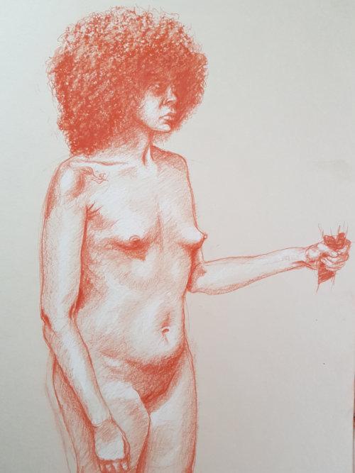 life-drawing by Paul Watson using Polychromos pencil